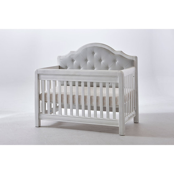Pali Cristallo Convertible Crib in Vintage White with Grey Leather Panel