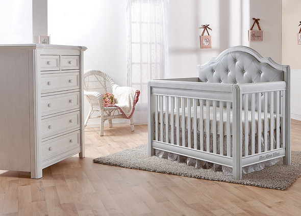 Pali Cristallo 2 Piece Nursery Set in Vintage White with Grey Leather Panel - Crib, 5 Drawer Dresser