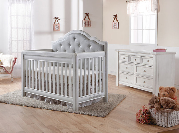 Pali Cristallo 2 Piece Nursery Set in Vintage White with Grey Leather Panel - Crib, Double Dresser