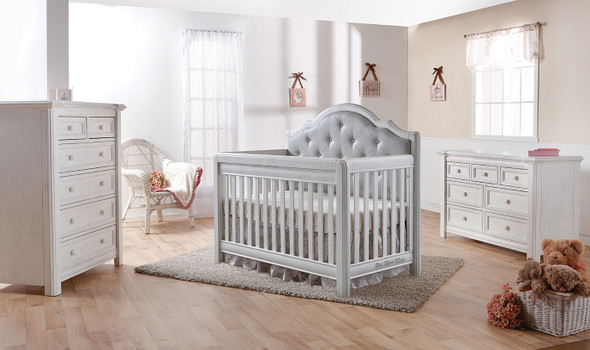Pali Cristallo 3 Piece Nursery Set in Vintage White with Grey Leather Panel