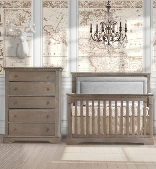 Natart Ithaca 2 Piece Nursery Set in Sugar Cane/Fog-Crib and 5 Drawer Dresser