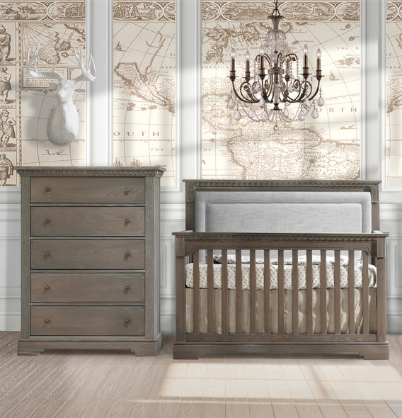 Natart Ithaca 2 Piece Nursery Set in Owl/Fog-Crib and 5 Drawer Dresser