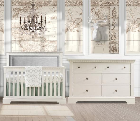 Natart Ithaca 2 Piece Nursery Set in White/Fog-Crib and Double Dresser