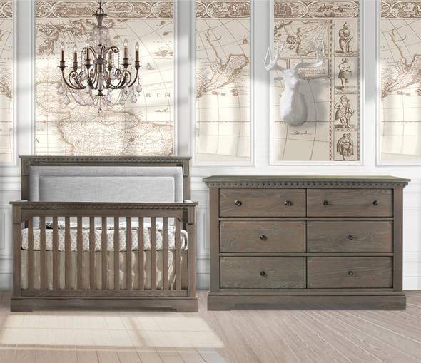 Natart Ithaca 2 Piece Nursery Set in Owl/Fog-Crib and Double Dresser