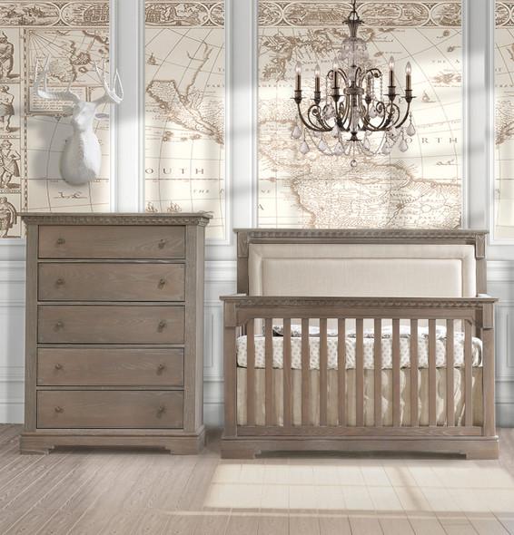 Natart Ithaca 2 Piece Nursery Set in Sugar/Talc-Crib and 5 Drawer Dresser