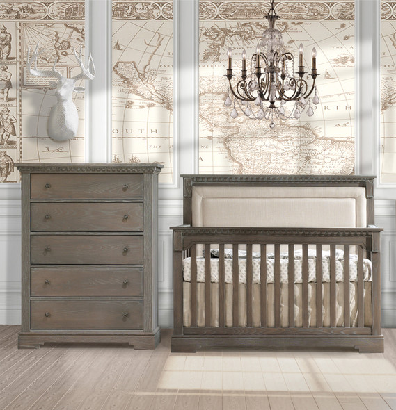 Natart Ithaca 2 Piece Nursery Set in Owl/Talc-Crib and 5 Drawer Dresser