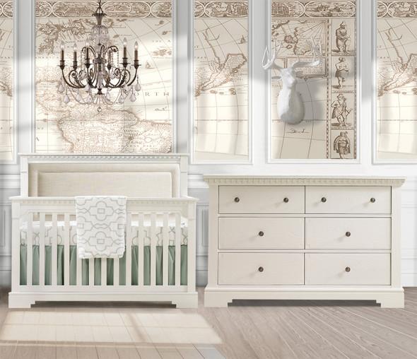 Natart Ithaca 2 Piece Nursery Set in White/Talc-Crib and Double Dresser