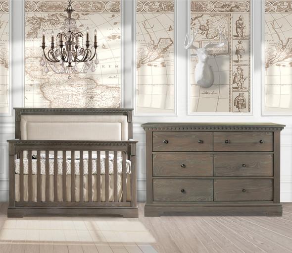 Natart Ithaca 2 Piece Nursery Set in Owl/Talc-Crib and Double Dresser