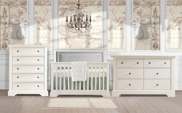 Natart Ithaca 3 Piece Nursery Set in White/Fog-Crib, Double Dresser, and 5 Drawer Dresser