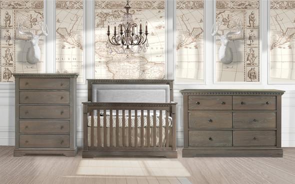 Natart Ithaca 3 Piece Nursery Set in Owl/Fog-Crib, Double Dresser, and 5 Drawer Dresser