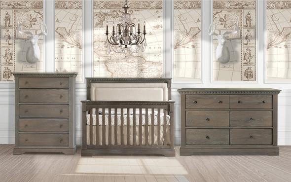 Natart Ithaca 3 Piece Nursery Set in Sugar Cane/Talc-Crib, Double Dresser, and 5 Drawer Dresser