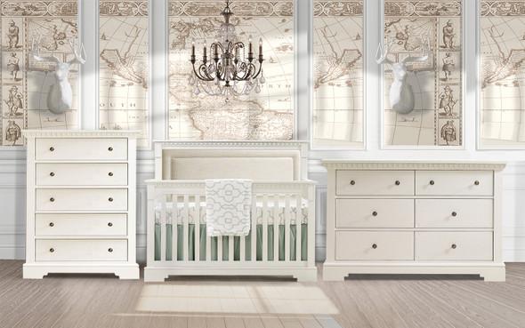 Natart Ithaca 3 Piece Nursery Set in White/Talc-Crib, Double Dresser, and 5 Drawer Dresser