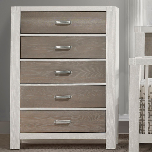Natart Rustico Moderno Collection 5 Drawer Dresser in White and Owl