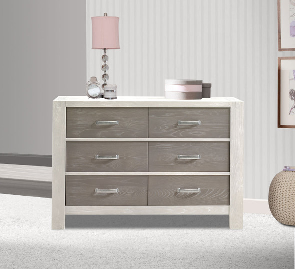 Natart Rustico Moderno Collection Double Dresser in White and Owl