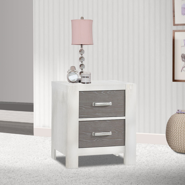 Natart Rustico Moderno Collection Nightstand in White and Owl