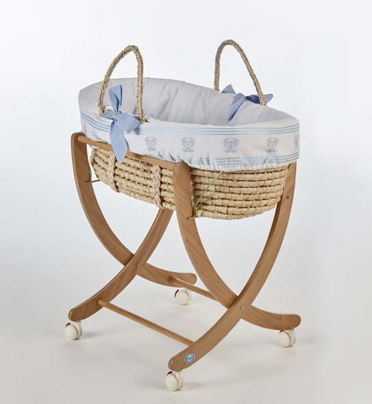 Pali Isabella D'Este Moses Basket in Light Blue and Natural
