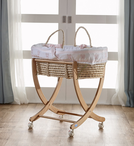 Pali Isabella D'Este Moses Basket in Pink and Natural