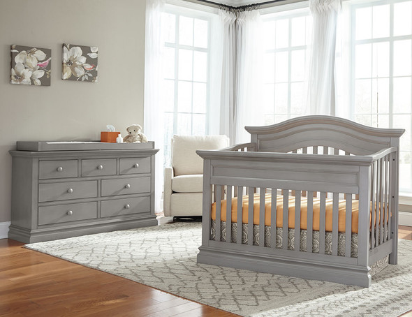 Westwood Stone Harbor 2 Piece Nursery Set - Crib and Double Dresser in Cloud