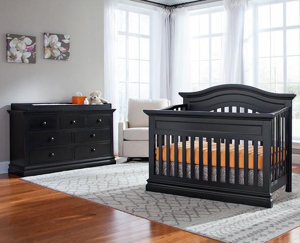 Westwood Stone Harbor 2 Piece Nursery Set - Crib and Double Dresser in Black