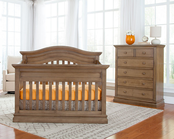 Westwood Stone Harbor 2 Piece Nursery Set - Crib and 5 Drawer Chest in Cashew
