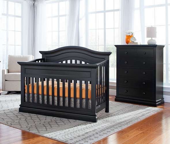 Westwood Stone Harbor 2 Piece Nursery Set - Crib and 5 Drawer Chest in Black