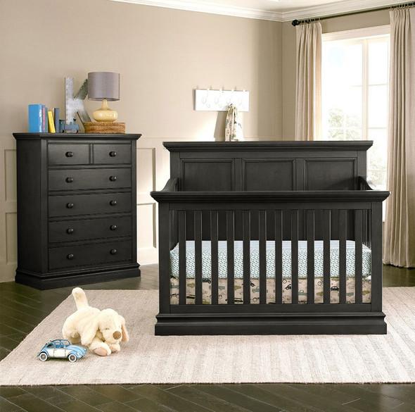 Westwood Pine Ridge 2 Piece Nursery Set - Crib and 5 Drawer Chest in Black