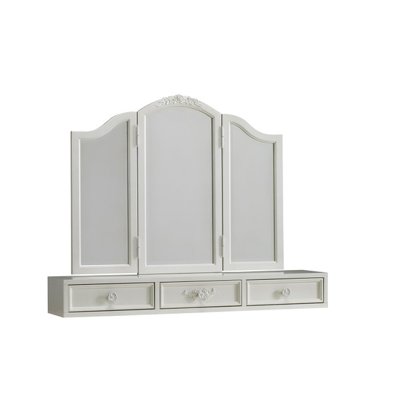 Dolce Babi Angelina Vanity Drawer Hutch with tri fold mirror in Pearl by Bivona & Company
