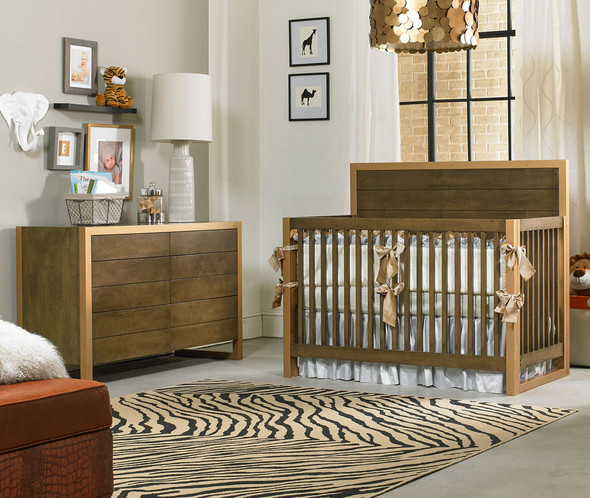 Dolce Babi Nicco 2 Piece Nursery Set - Crib and Double Dresser in Golden Brown and Gold Metal