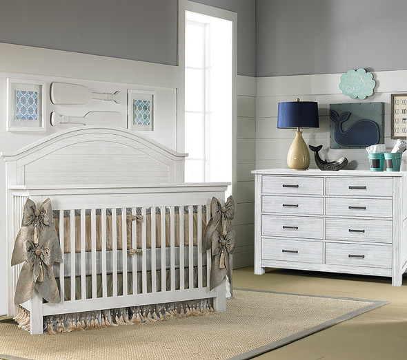 Dolce Babi Lucca 2 Piece Nursery Set Crib and Double Dresser in Sea Shell