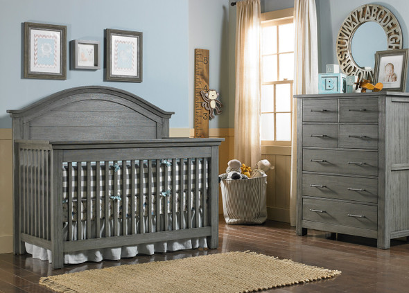 Dolce Babi Lucca 2 Piece Nursery Set Crib and 7 Drawer Dresser in Weathered Grey