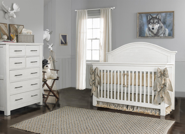 Dolce Babi Lucca 2 Piece Nursery Set Crib and 7 Drawer Dresser in Sea Shell