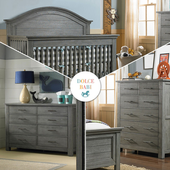 Dolce Babi Lucca 3 Piece Nursery Set in Weathered Grey