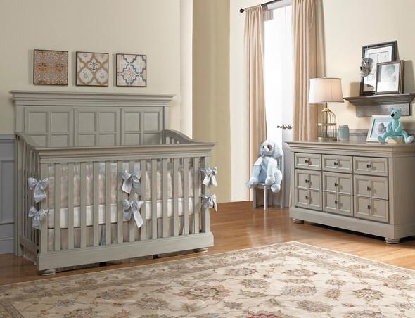 Dolce Babi Serena 2 Piece Nursery Set Crib and Double Dresser in Saddle Grey