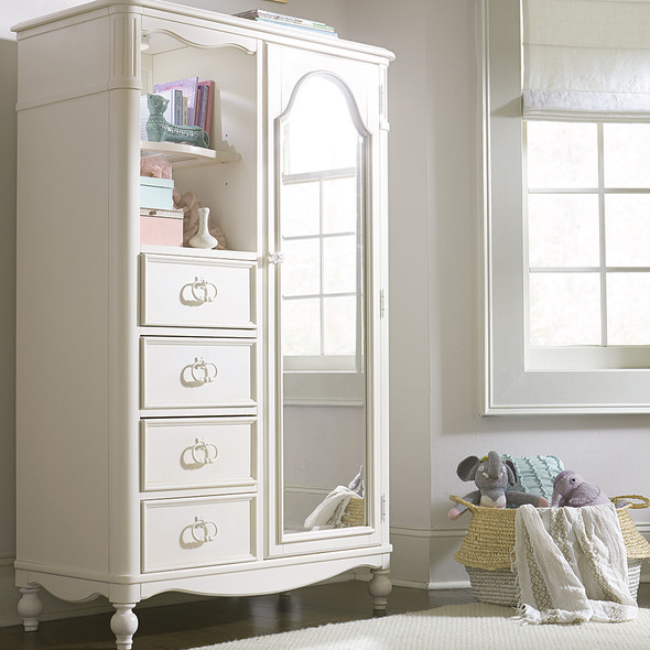 Legacy Classic Kids Harmony Mirrored Door Chest in Antique Linen White
