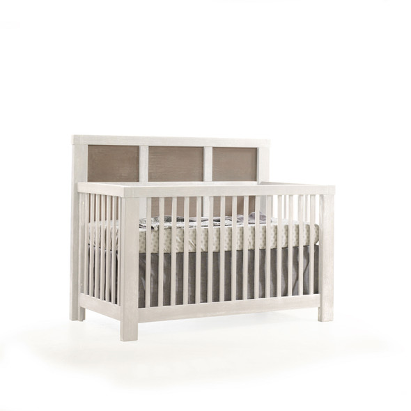 Natart Rustico Moderno Collection 2 Piece Nursery Set - Crib and 5 Drawer Dresser in White and Owl