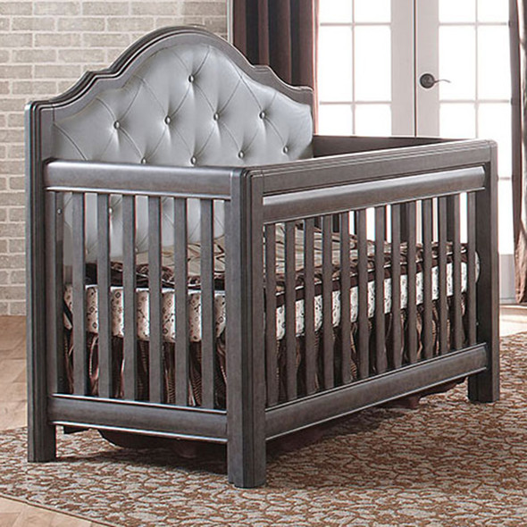 Pali Cristallo Convertible Crib in Granite with Grey Leather Panel