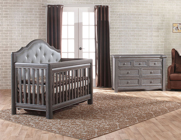Pali Cristallo 2 Piece Nursery Set in Granite with Leather Panel - Crib, Double Dresser