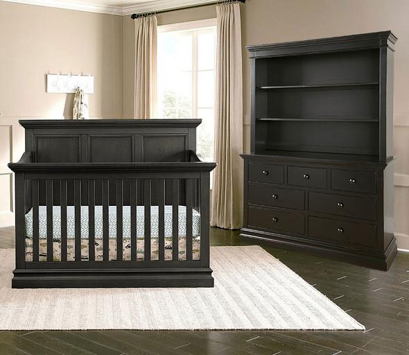 Westwood Pine Ridge 3 Piece Nursery Set in Black with Crib, DD, and Hutch