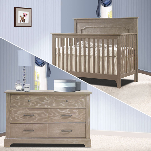 Nest Emerson Collection 2 Piece Nursery Set Crib and Double Dresser in Sugar Cane
