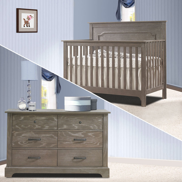 Nest Emerson Collection 2 Piece Nursery Set Crib and Double Dresser in Owl
