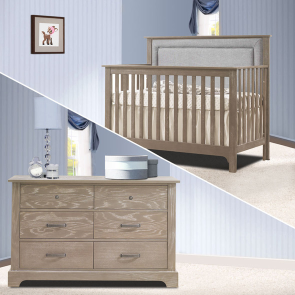 Nest Emerson Collection 2 Piece Nursery Set Crib with Fog Upl. Panel and Double Dresser in Sugar Cane
