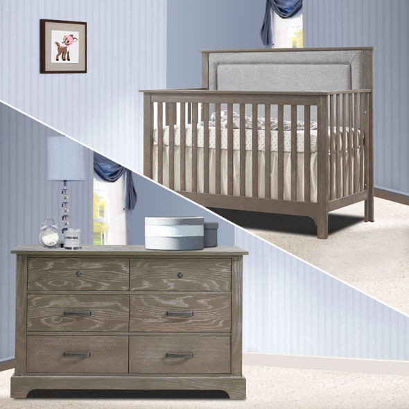 Nest Emerson Collection 2 Piece Nursery Set Crib with Fog Upl. Panel and Double Dresser in Owl