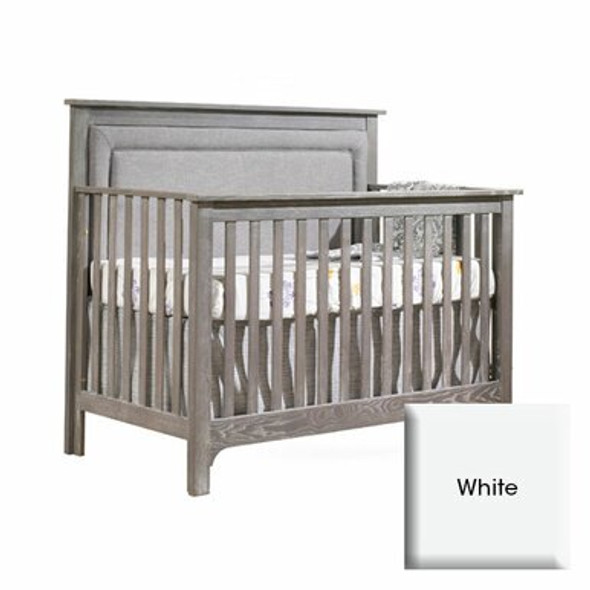 Nest Emerson Collection 2 Piece Nursery Set Crib with Fog Upl. Panel and Double Dresser in White