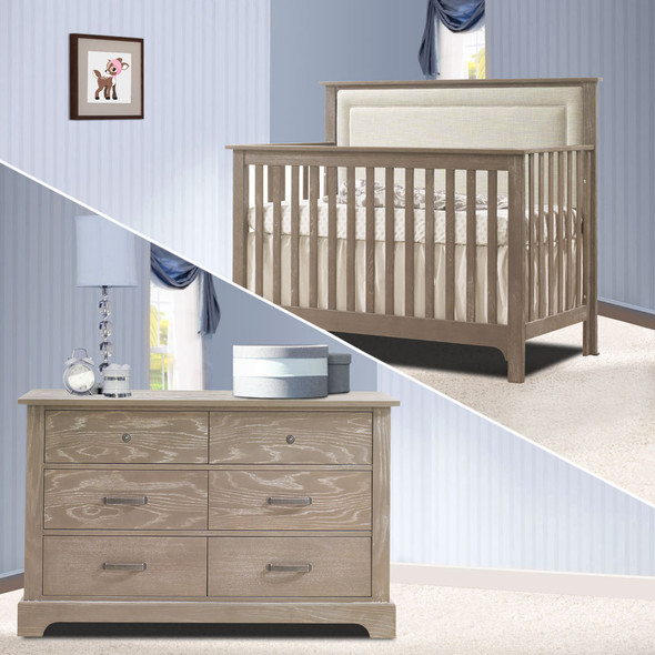 Nest Emerson Collection 2 Piece Nursery Set Crib with Talc Upl. Panel and Double Dresser in Sugar Cane