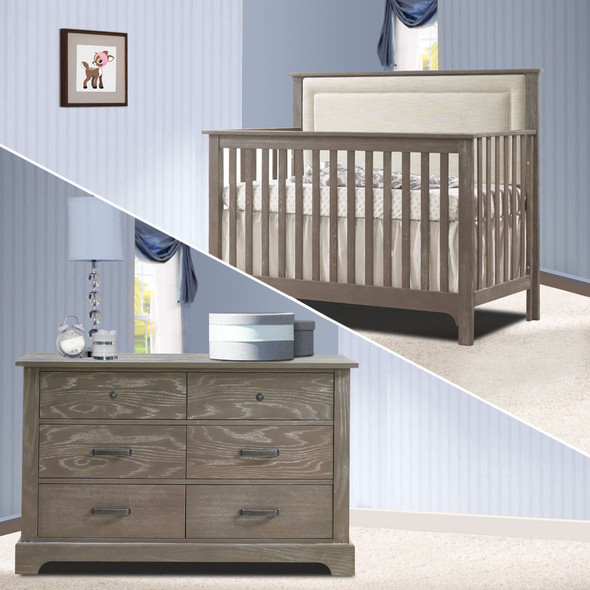 Nest Emerson Collection 2 Piece Nursery Set Crib with Talc Upl. Panel and Double Dresser in Owl