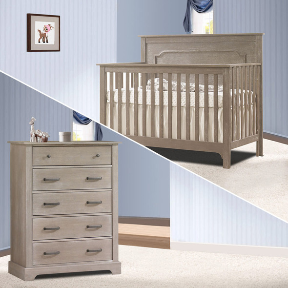 Nest Emerson Collection 2 Piece Nursery Set Crib and 5 Drawer Dresser in Sugar Cane