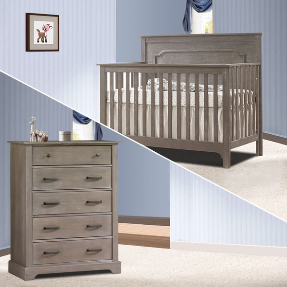 Nest Emerson Collection 2 Piece Nursery Set Crib and 5 Drawer Dresser in Owl