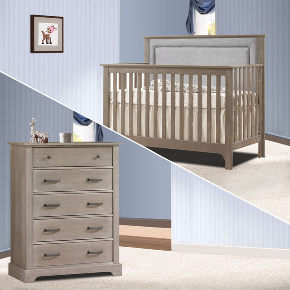 Nest Emerson Collection 2 Piece Nursery Set Crib with Fog Upl. Panel and 5 Drawer Dresser in Sugar Cane