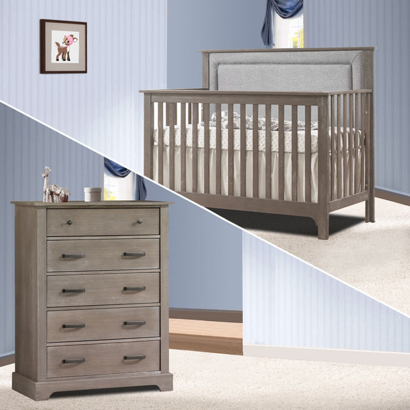 Nest Emerson Collection 2 Piece Nursery Set Crib with Fog Upl. Panel and 5 Drawer Dresser in Owl