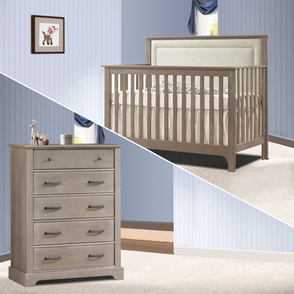 Nest Emerson Collection 2 Piece Nursery Set Crib with Talc Upl. Panel and 5 Drawer Dresser in Sugar Cane